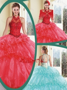 Cheap Appliques and Ruffles Quinceanera Dresses with Halter Top
