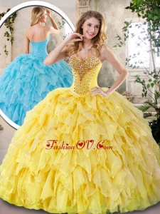 Elegant Yellow Quinceanera Dresses with Beading and Ruffles