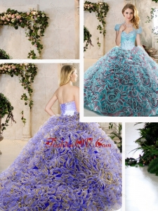 Fashionable Beading and Ruffles Quinceanera Dresses in Blue
