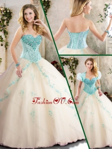 Fashionable Champagne Quinceanera Dresses with Appliques