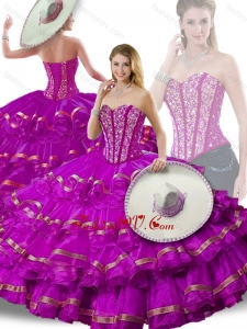 Gorgeous Beading and Ruffled Layers Fuchsia Detachable Quinceanera Dresses