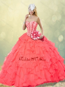 Hot Sale Coral Red Quinceanera Dresses with Beading and Ruffles for Fall