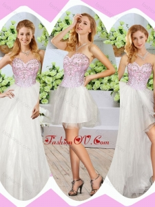 Wonderful High Slit Beading Detachable Quinceanera Dresses in Whi