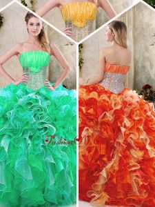 Lovely Strapless Quinceanera Dresses with Sequins and RufflesStrapless Quinceanera Dresses with Sequins and Ruffles