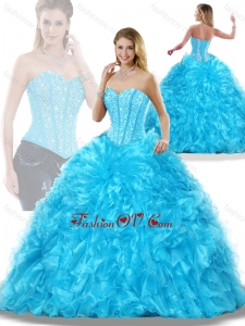 Luxurious Aqua Blue Detachable Quinceanera Dresses with Beading