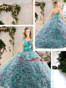 Modest Brush Train Quinceanera Dresses with Beading and Ruffles