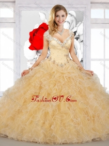 2016 Top Selling Puffy Straps Sweet 16 Dresses with Beading and Ruffles