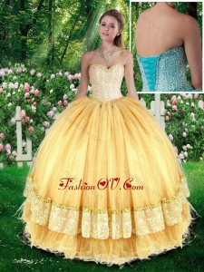 Beautiful Ball Gown Quinceanera Gowns with Beading for Fall