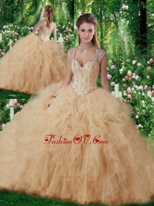 Beautiful Straps Beading 2016 Quinceanera Gowns in Champange