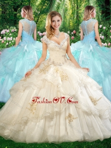 Beautiful Straps Champagne Quinceanera Dresses with Beading and Appliques