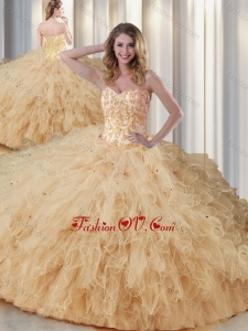 Exquisite Sweetheart Champagne Quinceanera Dresses with Appliques and Ruffles
