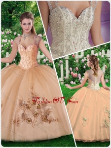 New Style Straps Champange Quinceanera Dresses with Beading and Appliques