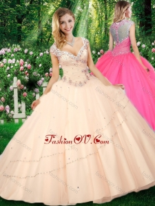 Simple Ball Gown Cap Sleeves Straps Beading Quinceanera Dresses