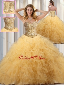 Exclusive Ball Gown Sweet 16 Dresses with Beading and Ruffles in Champagne