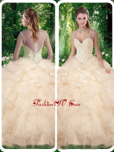 Best Champange Quinceanera Dresses with Beading and Appliques