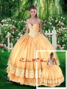 Pretty Ball Gown Quinceanera Dresses with Beading and Appliques