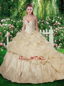 Sweet Brush Train Champange Sweet 16 Gowns with Beading for Fall