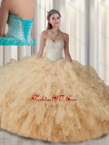 2015 Best Sweetheart Beading Quinceanera Gowns in Champagne