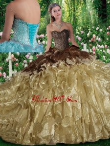 Best Ball Gown Beading Sweet 16 Dresses with Brush Train