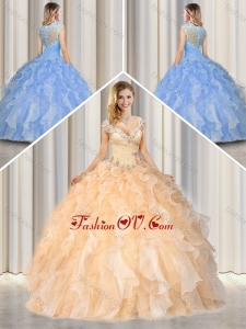 Best Straps Quinceanera Gowns with Beading and Ruffles