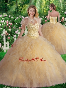 Best Sweetheart Champagne Quinceanera Dresses with Beading