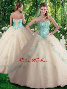 Hot Sale A Line Appliques Sweet 16 Dresses in Champagne