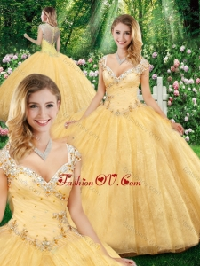 Latest Ball Gown Straps Quinceanera Dresses with Beading