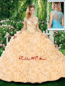 Lovely Ball Gown Cap Sleeves Quinceanera Dresses with Beading and Ruffles for Fall