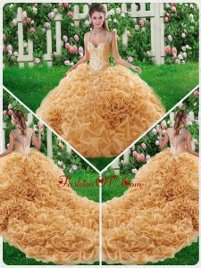 Lovely Ball Gown Straps Court Train 2016 Quinceanera Dresses with Beading