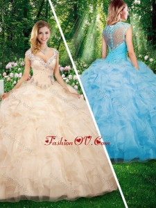 2016 New style Cap Sleeves Sweet 16 Dresses with Beading