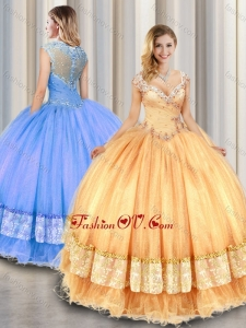 Fashionable Straps Beading and Appliques Sweet 16 Gowns