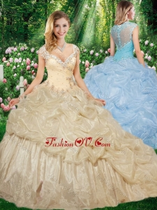 Gorgeous Straps Brush Train Quinceanera Gowns with Beading