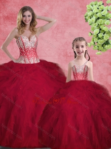 Hot Sale Wine Red Princesita With Quinceanera Dresses with Beading and Ruffles