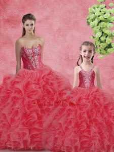 Wonderful Ball Gown Sweetheart Beading Macthing Sister Dresses in Coral Red