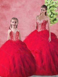 Hot Sale Beading 2016 Macthing Sister Dresses with in Red