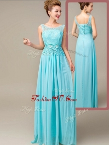 2016 Fashionable Empire Scoop Bridesmaid Dresses with Appliques and Lace