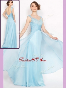 2016 New Style Empire Brush Train Light Blue Bridesmaid Dresses with Beading
