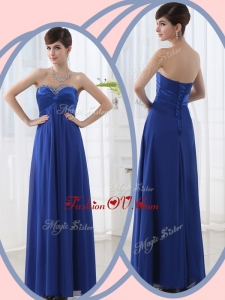 2016 Discount Empire Sweetheart Beading Blue Bridesmaid Dresses with Lace Up