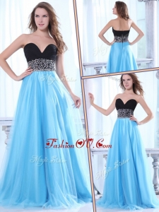 2016 Elegant Sweetheart Beading Baby Blue Bridesmaid Dresses with Brush Train