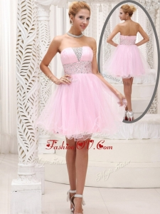 2016 Exquisite Strapless Beading Short Bridesmaid Dresses for Homecoming