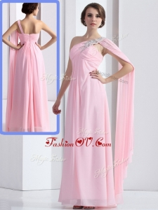 Elegant One Shoulder Baby Pink Bridesmaid Dresses with Ruching and Beading