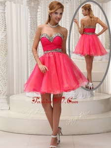 2016 Cheap Sweetheart Belt Short Dama Dress for Fall