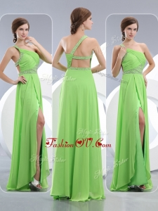 2016 Elegant One Shoulder Spring Green Dama Dresses with High Slit