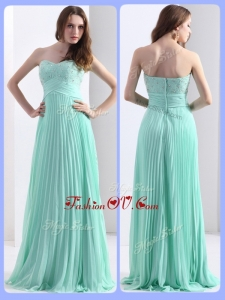 2016 Empire Beading and Sequins Apple Green Dama Dresses with Brush Train