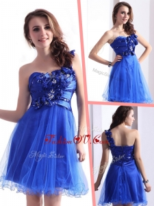 2016 Exquisite One Shoulder Dama Dresses with Beading and Hand Made Flowers