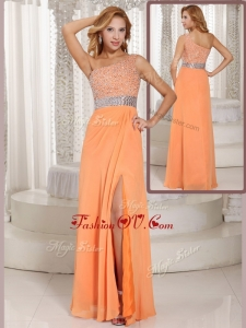 2016 Luxurious One Shoulder Beading Dama Dress with Side Zipper