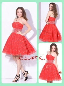 2016 Luxurious Sweetheart Beading Dama Dresses in Red for Fall