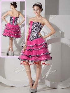 2016 New Style Sweetheart Leopard and Ruffled Layers Dama Dresses