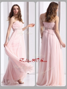 2016 Simple Strapless Beading Long Dama Dresses in Baby Pink