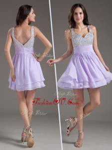 2016 Simple Straps Mini Length Lavender Dama Dress with Beading